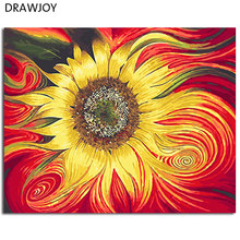 DRAWJOY Framed Oil Paint DIY Painting By Numbers Coloring By Numbers Sun Flower Home Decoration Wall Art For Living Room(China)