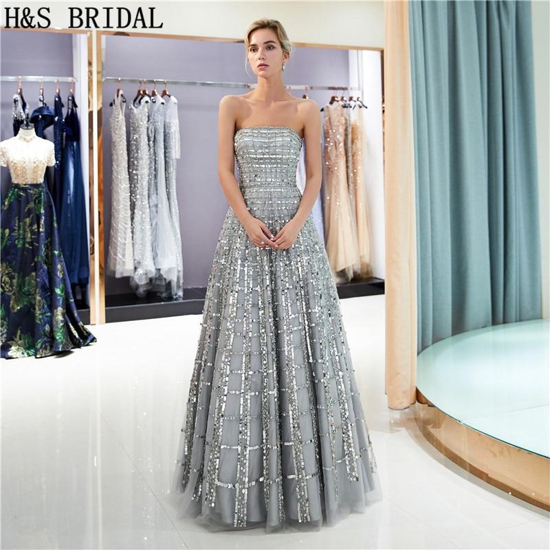 H&S BRIDAL Strapless Sequins Evening Dress Floor length evening party dress 2019 Backless Gray Evening Gown robe de mariee