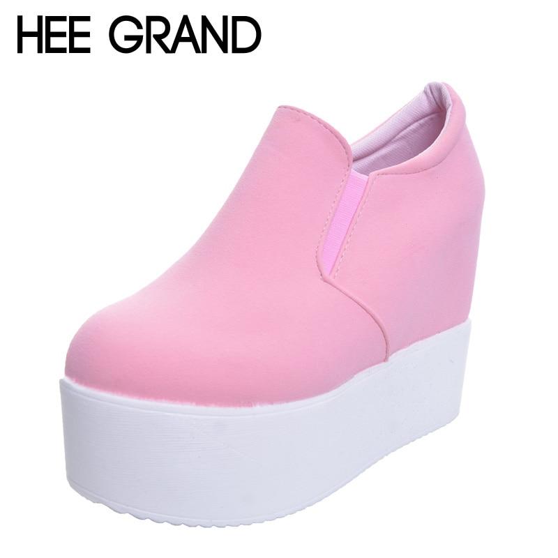 HEE GRAND Marca 2017 Mujeres Botas Sólido Suave Tacones Altos Plataforma Cuña Otoño Zapatos Mujer Tobillo Moda Botas de Montar XWX2835