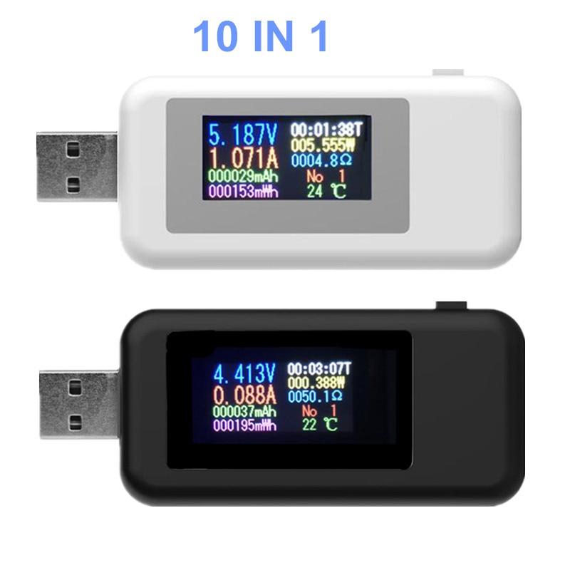 10 IN 1 Detector USB Voltímetro Amperímetro Probador USB Probador de corriente de voltaje Probador de capacidad de energía Corriente de voltaje del medidor 20% de descuento