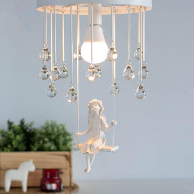 Nordic Home Iron Crystal Ceiling Lamp Simple Personality Bedroom Restaurant Living Room Music Angel Lights Free Shipping iron angel