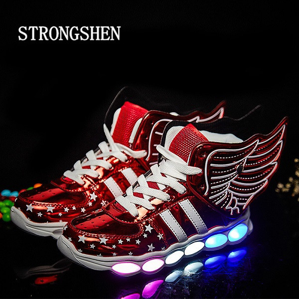 STRONGSHE 2017 Luminous Sneakers Kids Sneakers usb Charging Lighted LED lights Children Shoes Casual USB Girls Boy Shoes Wing kids light up shose with wings children usb charging led light shoes sneakers luminous lighted boy girl shoes chaussure enfant