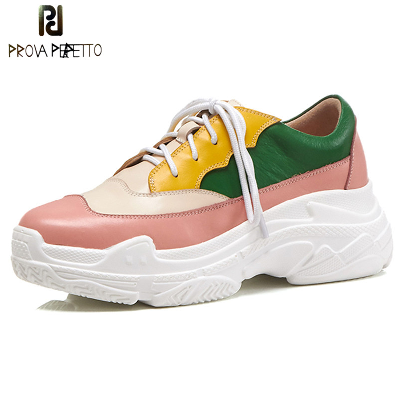Prova Perfetto Fashion Girl Pink Shoes Lace Up Casual Shoes Woman Genuine Leather High Platform Shoes Student Flat Sneaker Shoes prova perfetto 2018 fashion sexy red mouth casual shoes women lace up platform patent leather round toe shoes pink black females