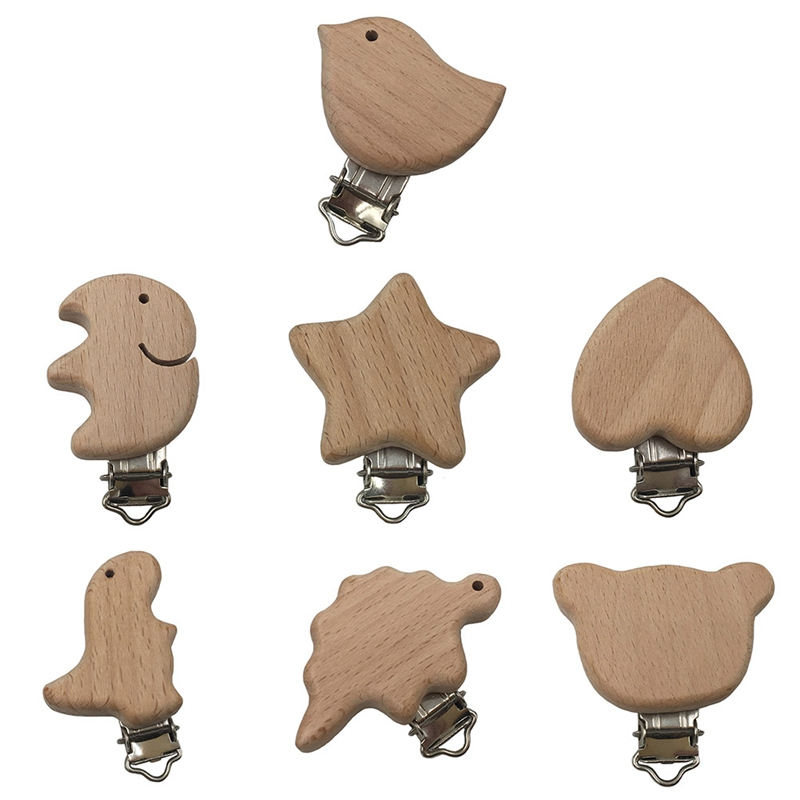 Portable Wooden Animal Baby Pacifier Clips Natural Beech Wood Dummy Clip DIY Infant Pacifier Chain Accessories