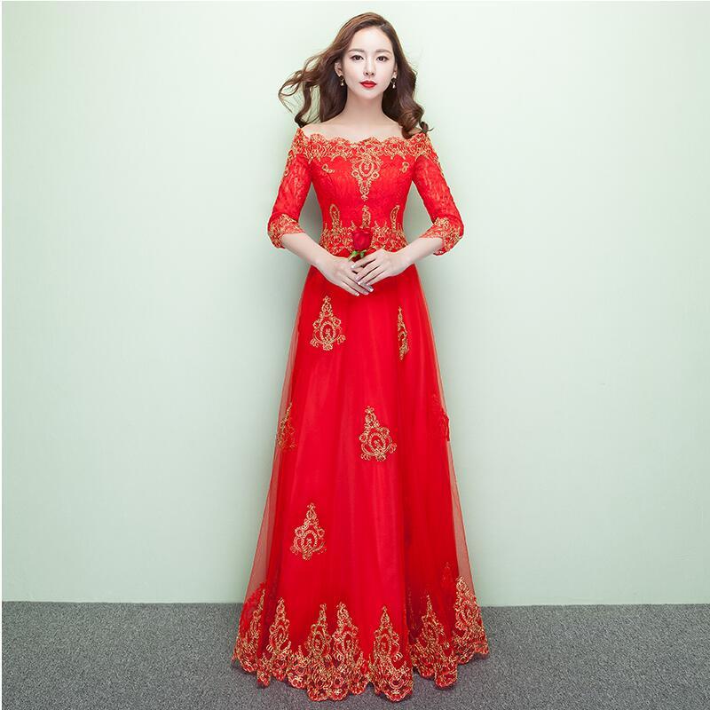 New fashion Chinese wedding traditional bride formal dress style red married elegant cheongsam