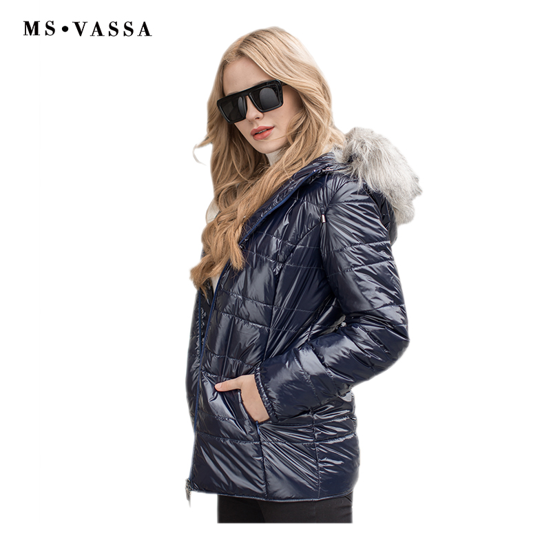 MS VASSA Women Parkas 2019 New Fashion Jackets Autumn Winter Coats fake fur removable hood stand
