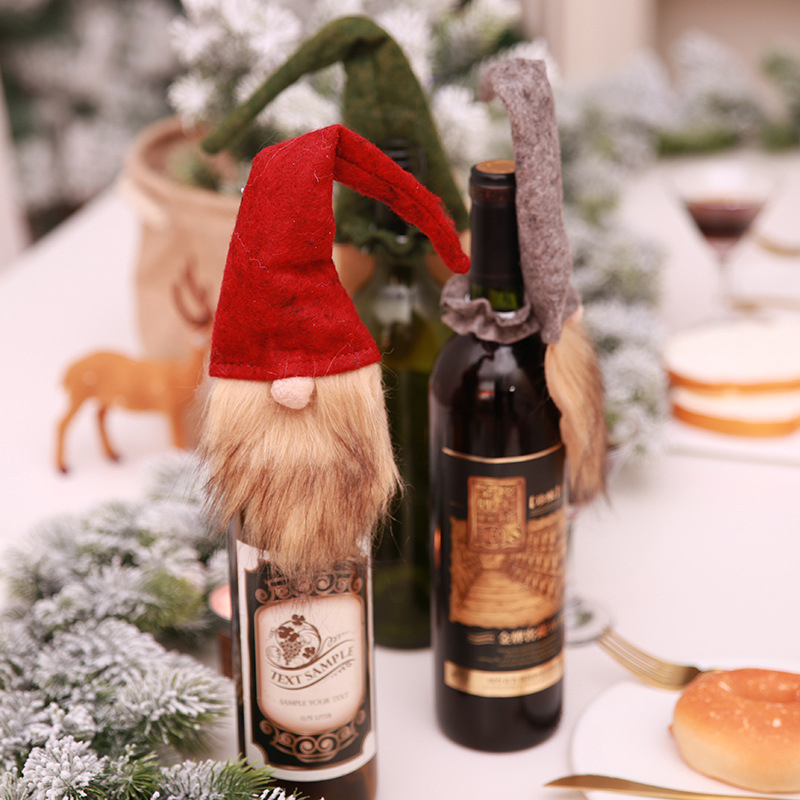 Systematic 2pcs/set Merry Christmas Red Wine Bottle Cover Old Man Faceless Doll Bottle Decor Kitchen Dinner Decoration For New Year Home & Garden