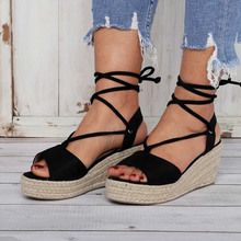 цены New Summer Fashion  Wedges Shoes Woman Slides Peep Toe Solid Women Sandals Lady Casual Shoes Size 34-43
