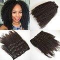Barato! 4a/4b/3c 4c afro rizada rizada Virginal Brasileña del pelo Humano clip en extensiones de cabello productos para el cabello rosa