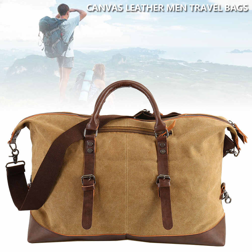 e02aa27a4948 Canvas Leather Men Travel Bags Carry on Luggage Duffel Tote Large Weekend  duffle big sac women