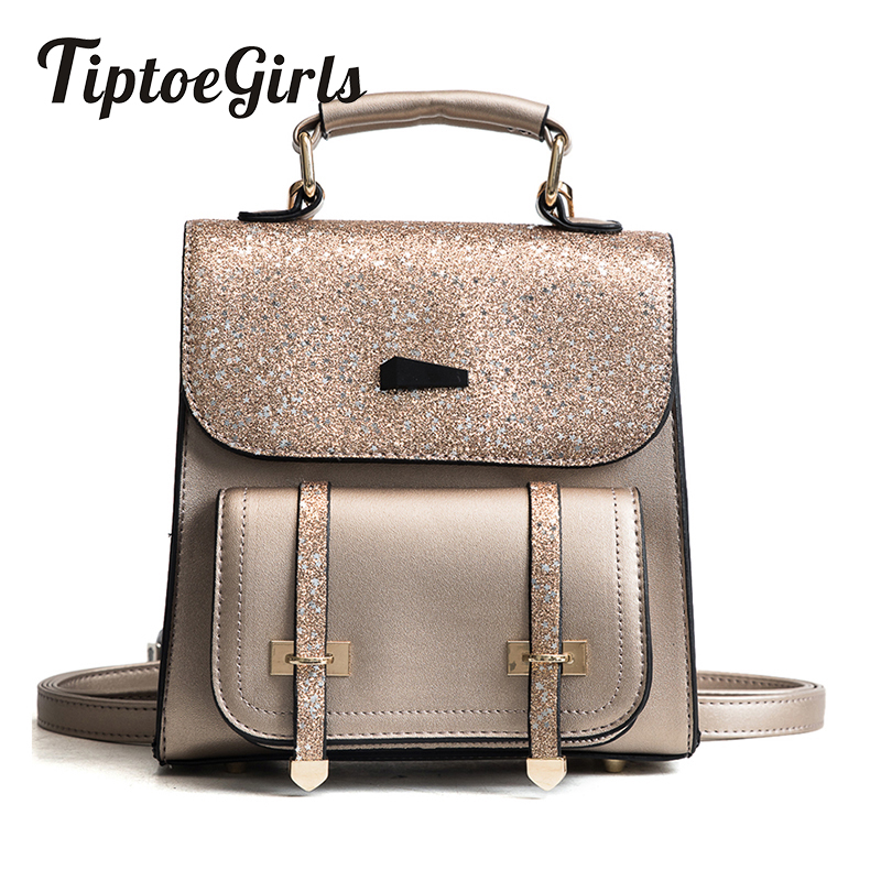 New Spring Sequined Bags Women Europe and the United States Fashion Large-Capacity Backpack Leisure Joker Travel Bag Tide in europe and the big tide of ms han edition fashion leisure joker soft pu leather backpack backpack personality simple bag