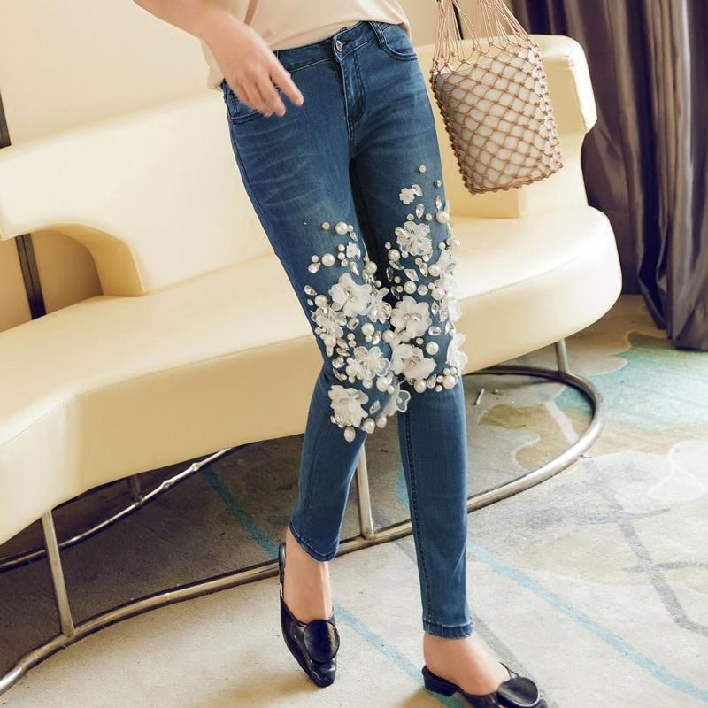Nuevas Denim Pantalones Flor 2018 Rebordear Blanco De Stretch Casuales Los Mujeres Moda Mujer La Con XvFXqr