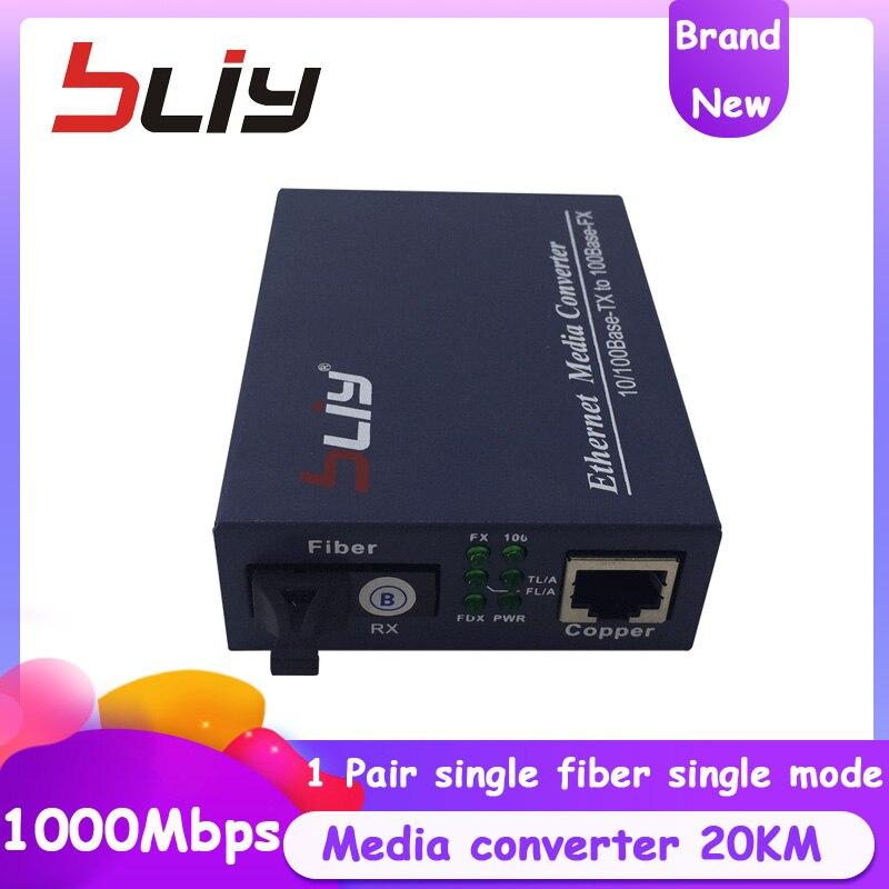 Волоконно оптический al Оборудование для связи 10/100/1000 Мбит/с медиа конвертер Fast Ethernet волоконно оптический трансивер SC порт 20 км ftth