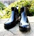Новый Мужской Моды Резиновые Лодыжки Резиновая Плоские Каблуки Анти-скольжения Воды Обувь Черные Сапоги Дождь Резиновые Сапоги Размер 39-43 H5374