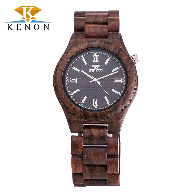 100% Natural Hot Hot Round Kenon Men Wrist Watches Top Brand Luxury Zebra Wood Quartz With Box Birthday Gift For Lover