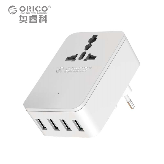ORICO Universal Power Plug Travel Converting Adapter With 4 USB 1 AC 20W Multi-Outlet Travel Power Strip