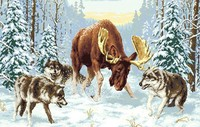 JCS Elk Fighting Wolf Diamond Embroidery Embroidery Crystals In The Snow Picture Rhinestones Mosaic Painting Set