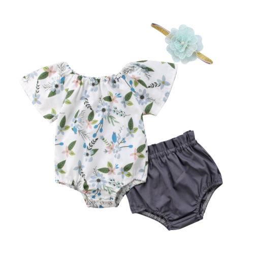 Casual Newborn Infant Toddle Baby Girls Floral Sleeveless Cotton Tops Shorts Summer Clothes Outfits 2PCS Baby Girl 0-24M