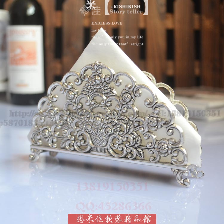 Fashion decorative pattern paper towel holder silver plated metal senior tissue blocks t ...