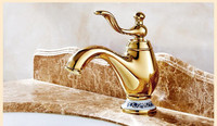 Europe type copper faucet gold finish hot and cold blue and white porcelain basin faucet bathroom basin tap