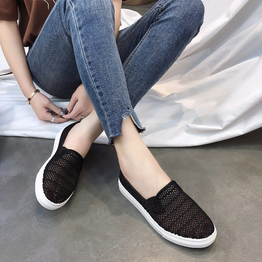 New Women's Vulcanize Shoes Spring Summer Slip On Sneakers Black Casual Shoes Women Breathable Hollow Out Woman Sneakers new women s vulcanize shoes spring summer slip on sneakers black casual shoes women breathable hollow out woman sneakers
