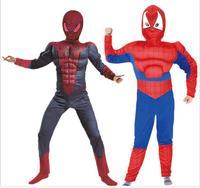 2016 S L Muscle Spiderman Costume Children Kid Boy Girl Halloween Costume The Spider Man Mask