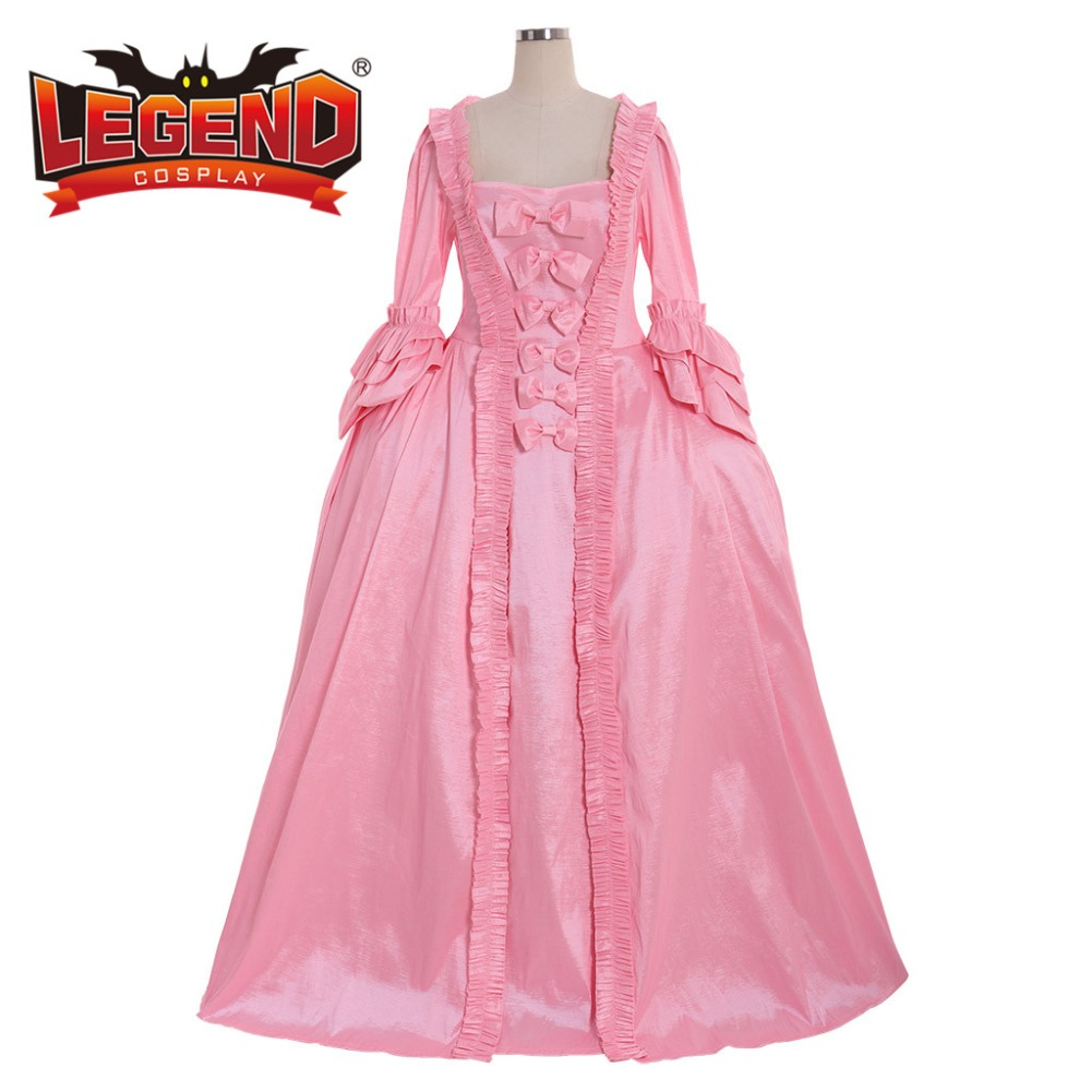 18TH century colonial Marie Antoinette pink Gown Dress Rococo 18th Century pink Gown dress sack back gown