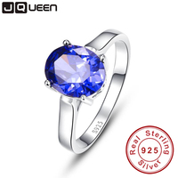 Promotion Wedding Jewelry 4 3carats Blue Sapphire Rings Fashion Female Tanzanite Stone Pure Solid 925 Sterling