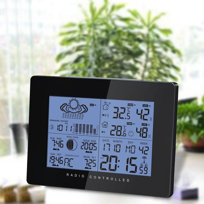 Беспроводной метеостанция с точностью прогноз Температура, влажность Moon Phase барометр Беспроводной термометр DHN8561