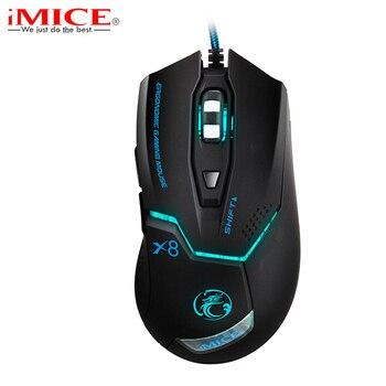 IMice эргономичная Проводная игровая мышь USB оптическая геймерская мышь Professional 3200 dpi 6 кнопок компьютерная игровая мышь Мыши для ПК Dota 2