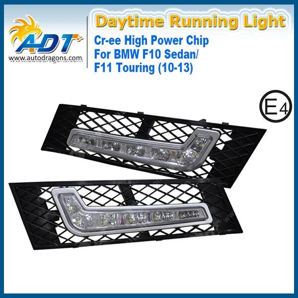 LED Car Daytime Running Light 12V 6W*2 Cr High power for BMW F10 Sedan/ F11 Touring(2010-2013) Only DRL Xenon White Daylight 7000k xenon white 16w high power led daytime running lights kit for bmw 2010 2013 f10 528i 535i 550i m tech bumper only