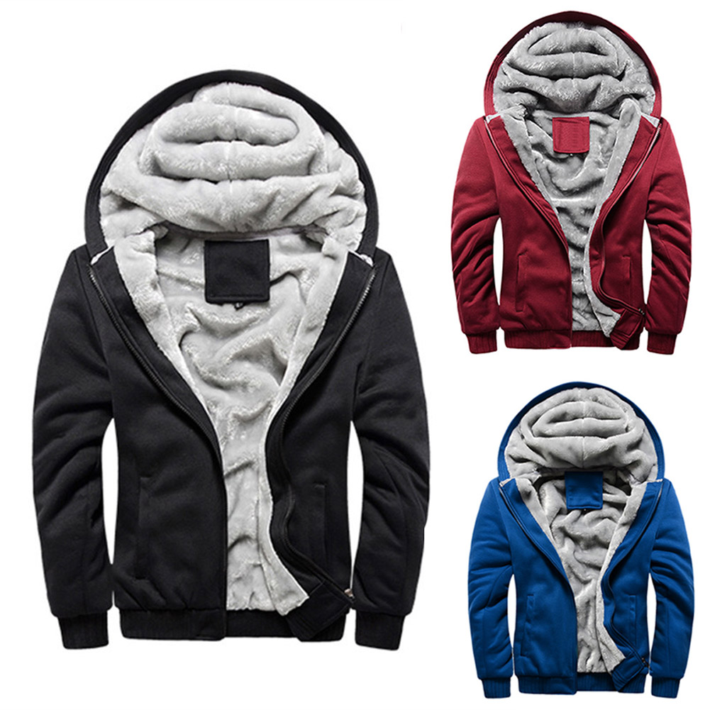 Casual Autumn Winter Men Hoodie Long Sleeve Thick Velvet Sweatshirt Zipper Jacket Solid Color Pockets Hoodies M-5XL FS99