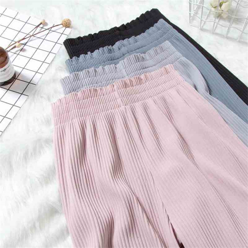 2019 New Chic Summer Big Size Women Chiffon   Wide     Leg     Pant   Casual High Waist Pleated   Pant   Spring Elegant Lady   Pants   Legging WZ342