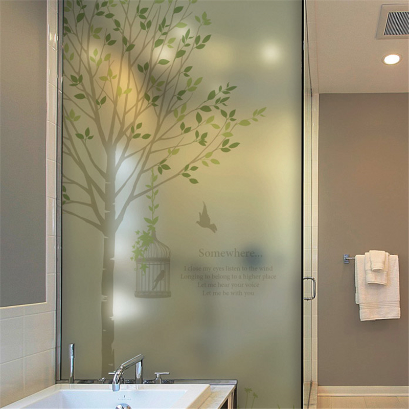 Window film Static glass film bathroom scrub stickers sun screen window stickers film fenetre Green tree film on the window