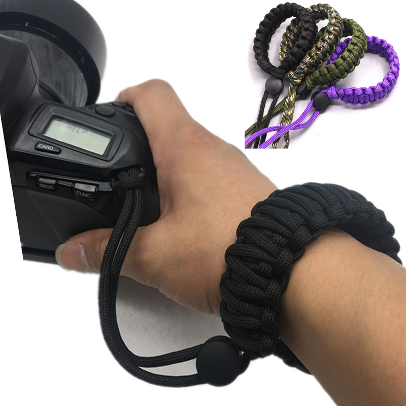 3pcs/lot Outdoor Survival Camera Umbrella Rope Bracelet Handmade Wristband Braided Cord Knitted Camera Pendant Wrist Strap