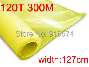 Free shipping  5 meters 120T 300M yellow color polyester silk screen printing mesh 120T 127CM width white color 1 yard silk screen printing mesh 120 mesh 48t count 100