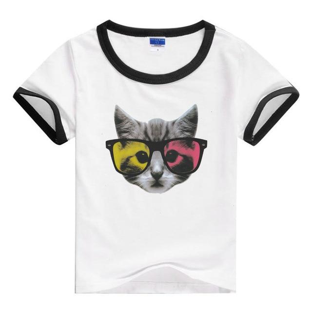 Девушка топы тис футболки кошка мальчиков летом мультфильм кошка детская одежда дети с коротким рукавом футболки shirs infantil кошка мальчик рубашки топы