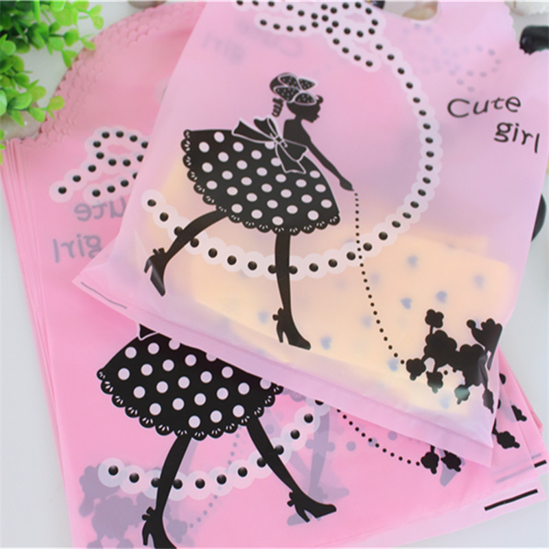 2015 Hot Sale New Design Wholesale 50pcs/lot 25*35cm Thickening Large Clothing Packaging With Cute Girl Plastic Shopping Bags