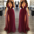 Spring Maxi Long Cami Dress Robe Sexy V Neck Chiffon Red Bodycon Sequin Detail Dresses Fashion Women Backless Side Split Dress
