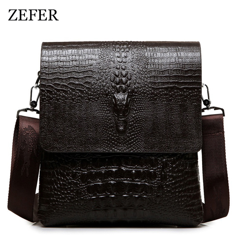2017 NEW Vertical high quality leather men bag business casual alligator shoulder bag Messenger bag crocodile grain  bag high quality casual men bag