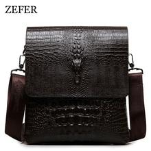 2017 NEW Vertical high quality leather men bag business casual alligator shoulder bag Messenger bag crocodile grain  bag