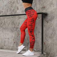 NORMOV Leggings Women Letter Printing Polyester Ankle Length Leggings Casual High Waist Push Up Plus Size Leginsy Damskie