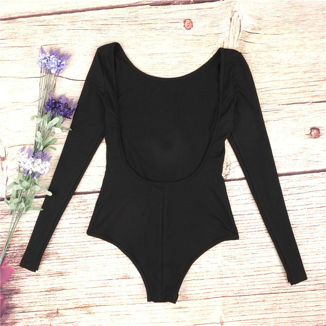 Backless long sleeve autumn bodysuit women 2018 bandage fitness slim black jumpsuits bodysuits sexy hot bodycon overalls clothes 2