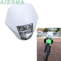 Motorcycle Supermoto Twin LED Headlight StreetFighters Dirt Bike Head Lamp Fairing For Husquvarna KTM Honda DRZ KLX XR TTR WR SX