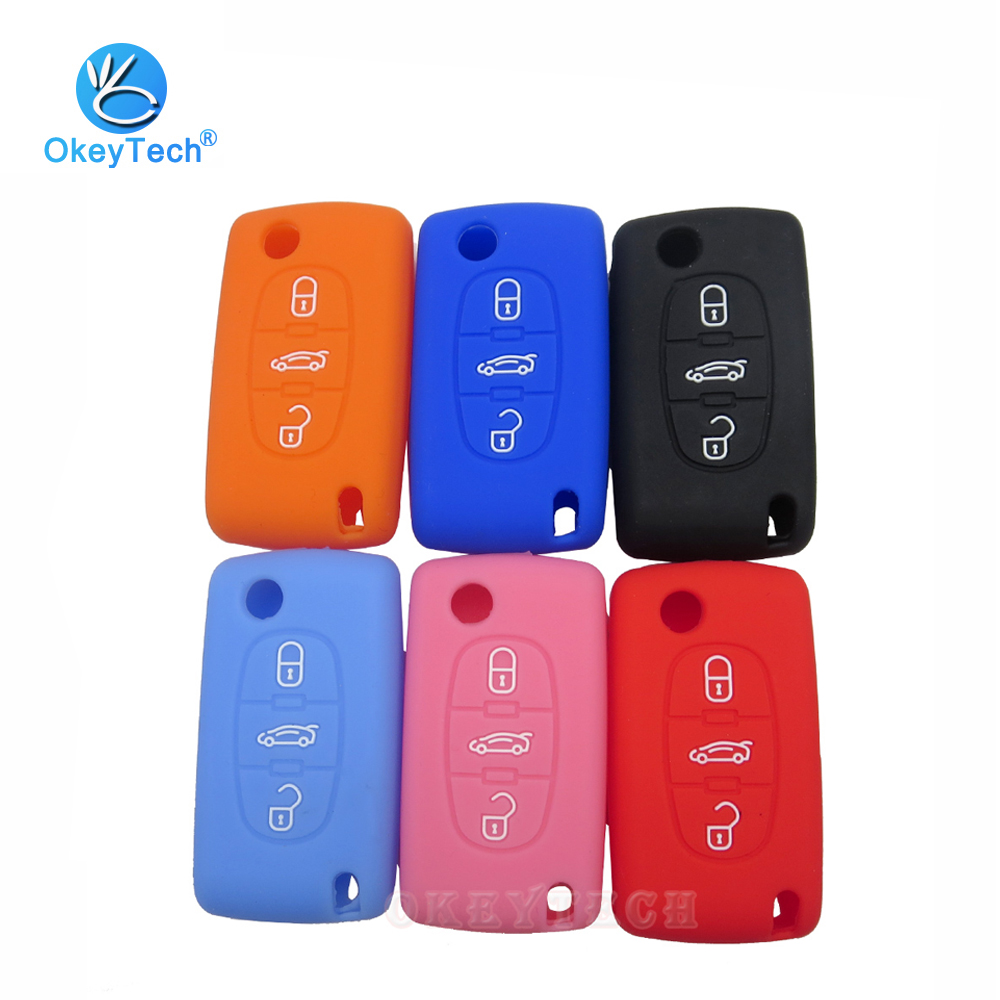YLC Silicone Car Key Protection Case//Car Key Cover//Fob Holder//Cover Skin Jacket for Peugeot /& Citroen 2 Buttons Remote Car Key Purple