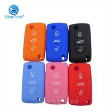 OkeyTech складной чехол для автомобильного ключа с 3 кнопками, силиконовый чехол, защитная резиновая оболочка для PEUGEOT 407 307 308 607 для Citroen C4 C5