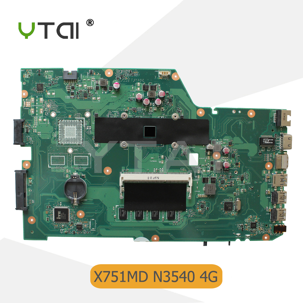 YTAI N3540 processor 4G RAM motherboard for ASUS X751MA X751MD laptop motherboard REV2.0 SR1YW N3540 4G mainboard 100% tested ytai nx90jn rev2 0 mainboard for asus nx90jn nx90jq laptop motherboard hm55 rev 2 0 3 ddr3 ram slots 8 pcs memory card mainboard