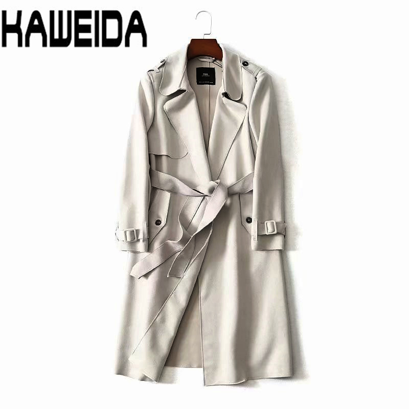 Women Classic Solid Long   Trench   Coat Female Doube Breasted   Trench   Sashes England Style Turn-down Collar Outerwear Dropship