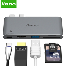 llano USB HUB USB-C to 3.0 HUB HDMI 4K Thunderbolt 3 Adapter for MacBook Pro 13/15 inch Type C HUB SD/TF Card Reader PD Adapter 8in1 type c hub adapter cable pd power delivery 1gbps ethernet port sd card reader 4k usb c to hdmi 3 usb3 0 ports for macbook