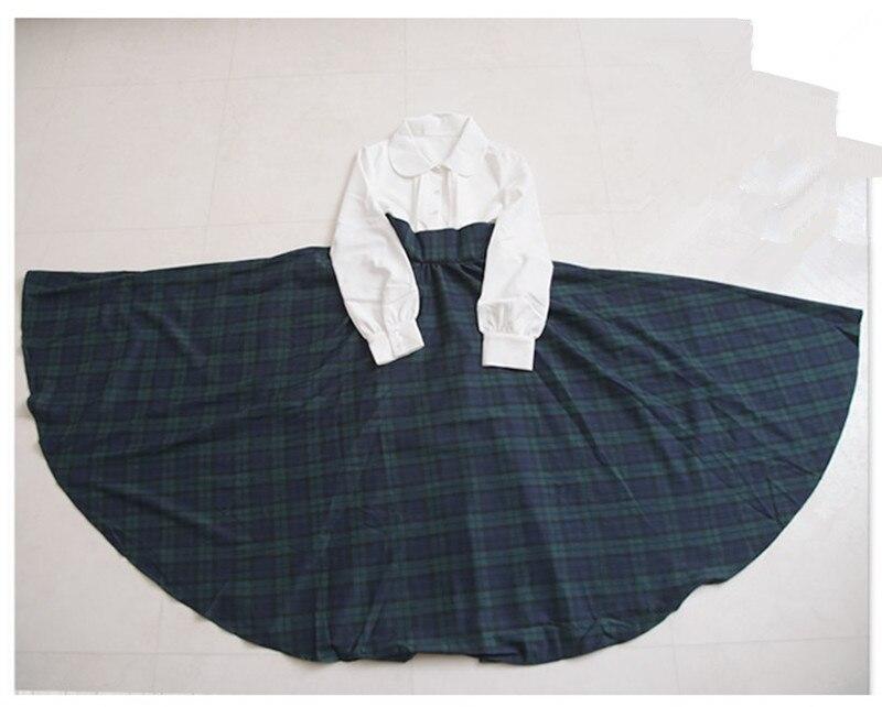 Robes Vintage Jupes Robe Col Femmes Pan Taille Mori Peter Fille Vert Style Princesse Grande Plaid Preppy Angleterre Élégant PHntUOqw